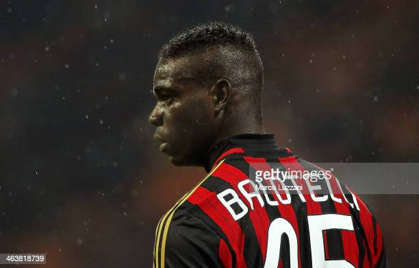 Mario Balotelli of AC Milan looks on during the Serie A match between AC Milan and Hellas Verona FC at San Siro Stadium on January 19 2014 in Milan...