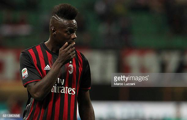 Mario Balotelli of AC Milan looks on during the Serie A match between AC Milan and AS Roma at Stadio Giuseppe Meazza on May 14 2016 in Milan Italy