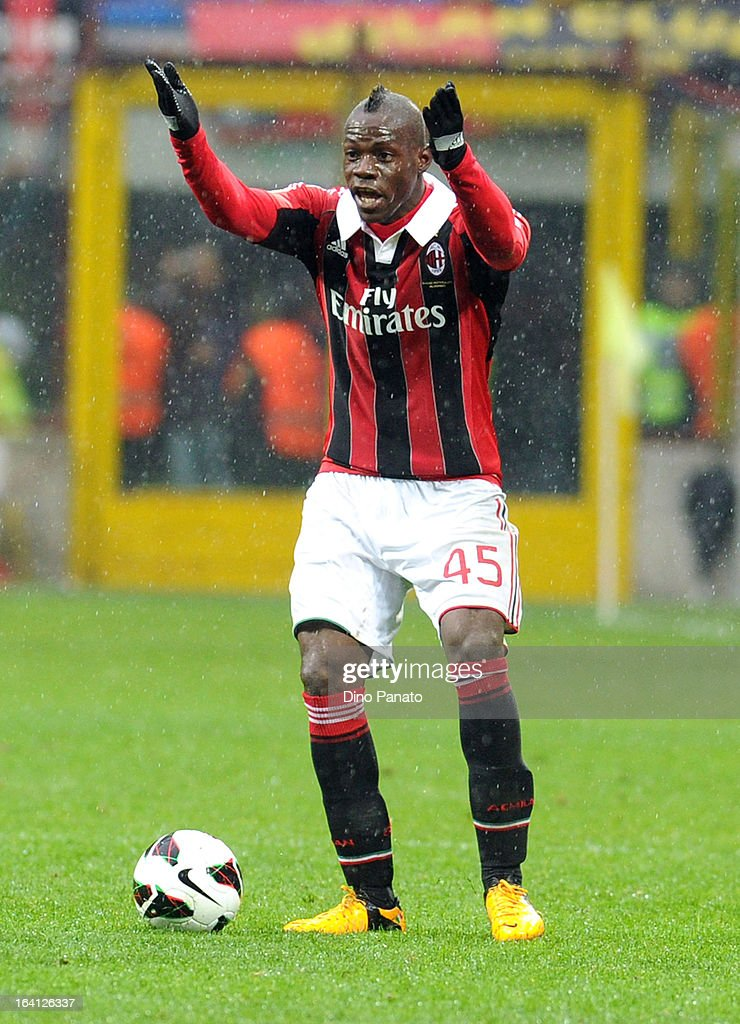 <a gi-track='captionPersonalityLinkClicked' href=/galleries/search?phrase=Mario+Balotelli&family=editorial&specificpeople=4940446 ng-click='$event.stopPropagation()'>Mario Balotelli</a> of AC Milan reacts during the Serie A match between AC Milan and US Citta di Palermo at San Siro Stadium on March 17, 2013 in Milan, Italy.