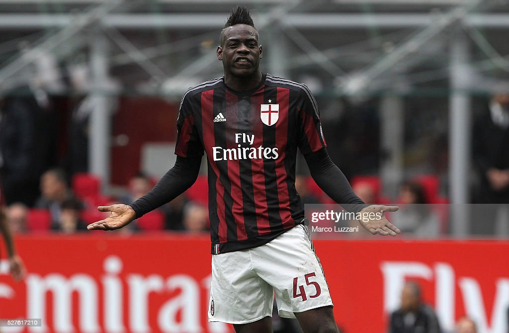 Mario Balotelli of AC Milan reacts during the Serie A match between AC Milan and Frosinone Calcio at Stadio Giuseppe Meazza on May 1 2016 in Milan...