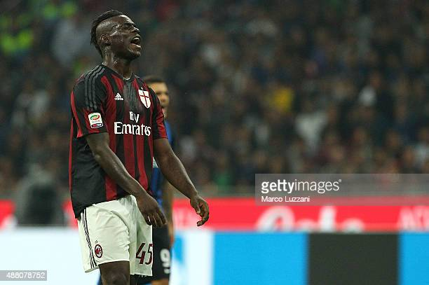 Mario Balotelli of AC Milan reacts to a missed chance during the Serie A match between FC Internazionale Milano and AC Milan at Stadio Giuseppe...