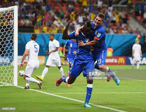 Mario Balotelli of Italy and Marco Verratti celebrate after the second goal during the 2014 FIFA World Cup Brazil Group D match between England and...