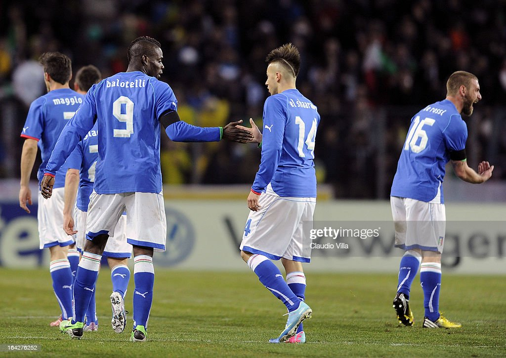 <a gi-track='captionPersonalityLinkClicked' href=/galleries/search?phrase=Mario+Balotelli&family=editorial&specificpeople=4940446 ng-click='$event.stopPropagation()'>Mario Balotelli</a> of Italy #9 celebrates scoring the second goal during the international friendly match between Italy and Brazil on March 21, 2013 in Geneva, Switzerland.