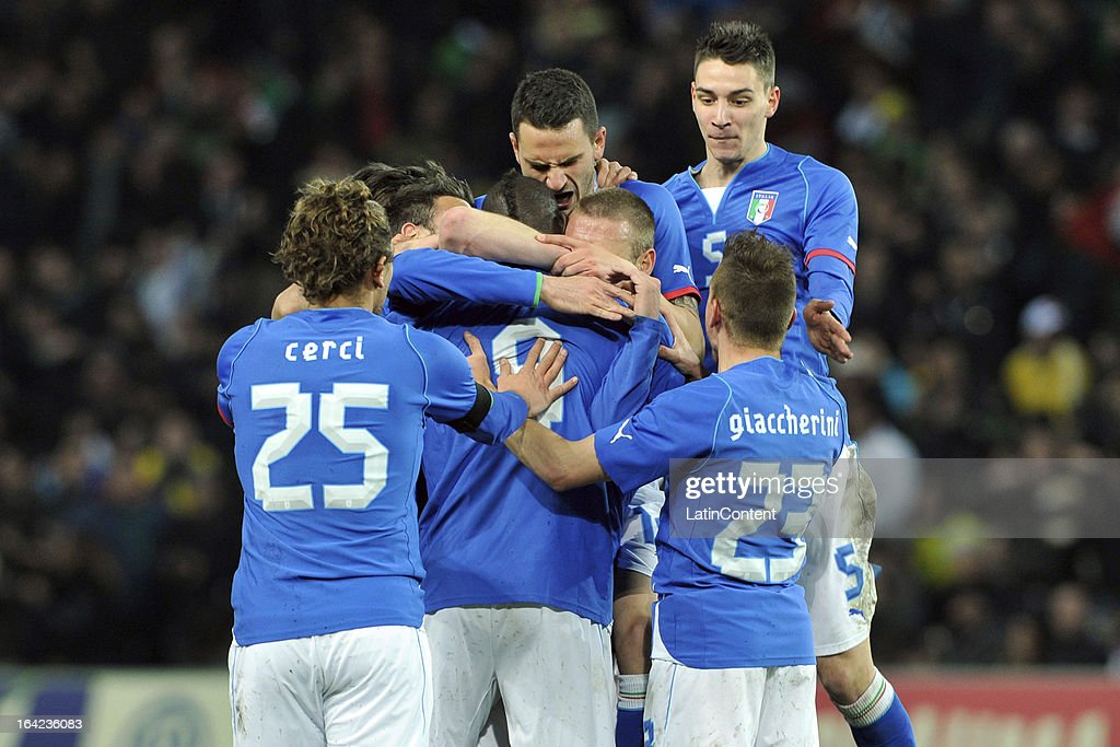 <a gi-track='captionPersonalityLinkClicked' href=/galleries/search?phrase=Mario+Balotelli&family=editorial&specificpeople=4940446 ng-click='$event.stopPropagation()'>Mario Balotelli</a> (C) of Italy celebrates with his teammates after scoring their second goal during the FIFA friendly match between Brazil and Italy on March 21, 2013 in Geneva, Switzerland.