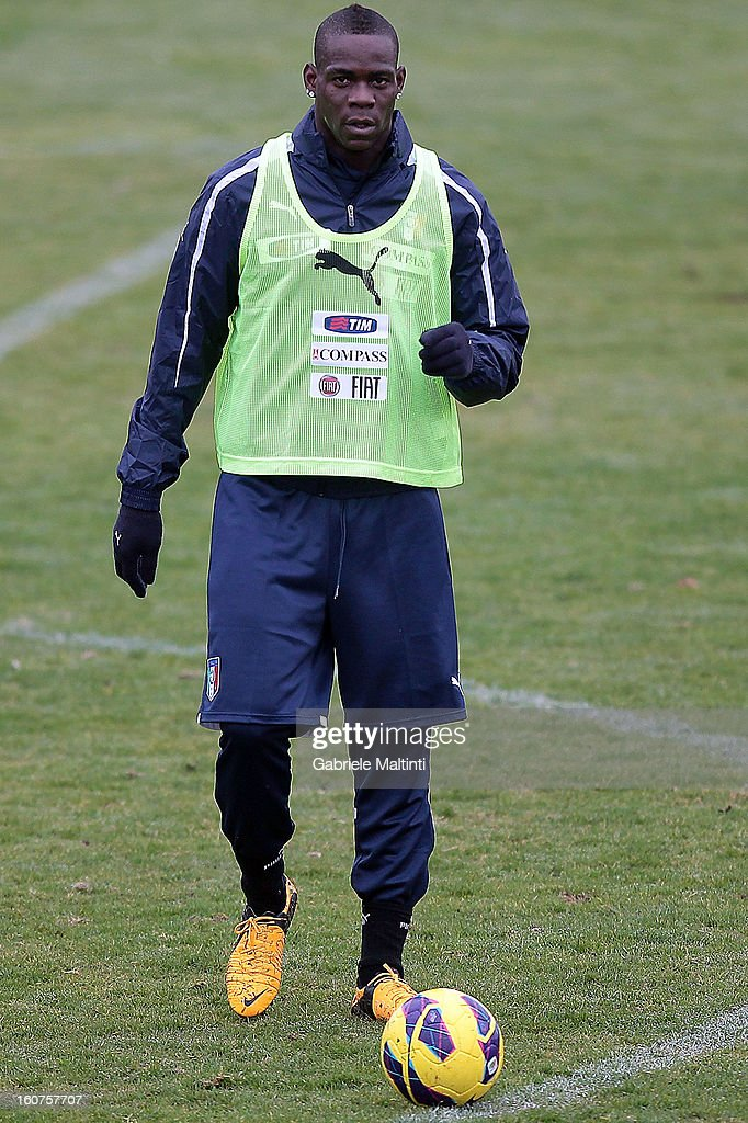 Mario Balotelli of Italy during a training session at Coverciano on February 5, 2013 in Florence, Italy.