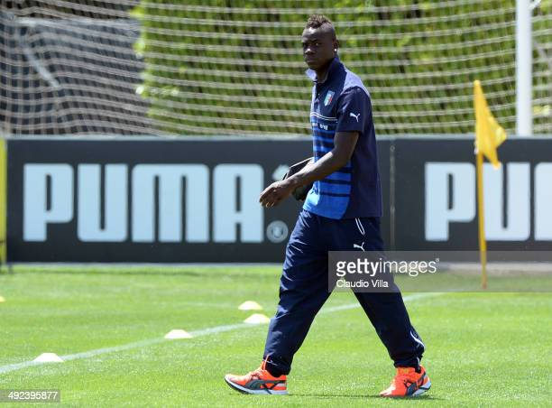 Mario Balotelli of Italy during a training session at Coverciano on May 20 2014 in Florence Italy