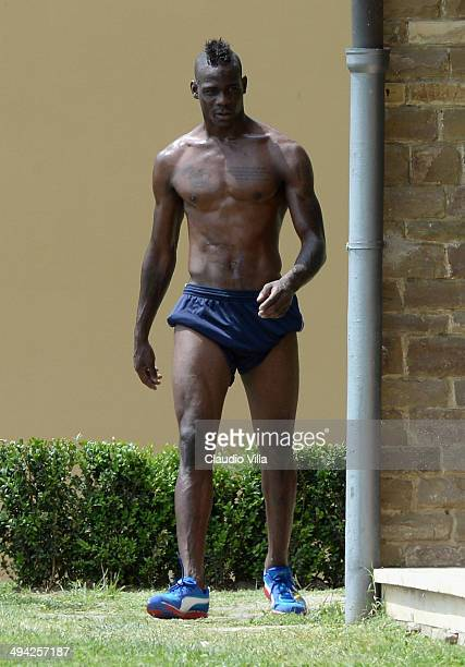 Mario Balotelli of Italy during a training session at Coverciano on May 29 2014 in Florence Italy