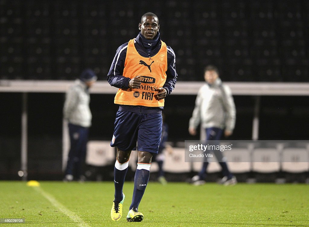 Mario Balotelli of Italy during a training session at Craven Cottage on November 17, 2013 in London, England.