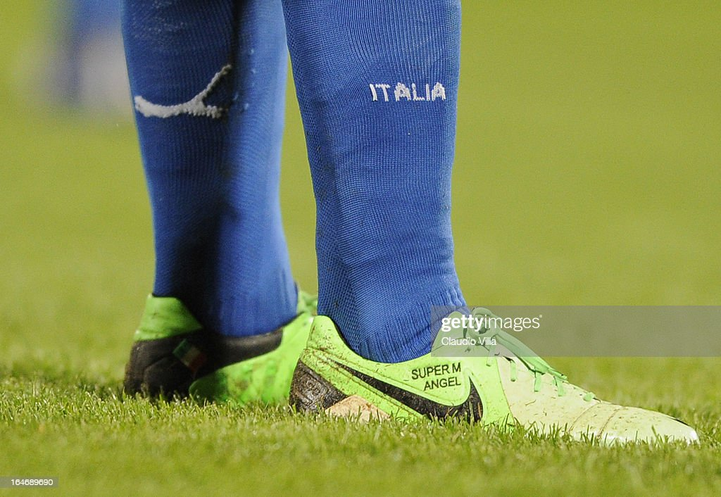 Mario Balotelli (shoe detail) of Italy during the FIFA 2014 World Cup qualifier match between Malta and Italy at Ta Qali Stadium on March 26, 2013 in Malta, Malta.