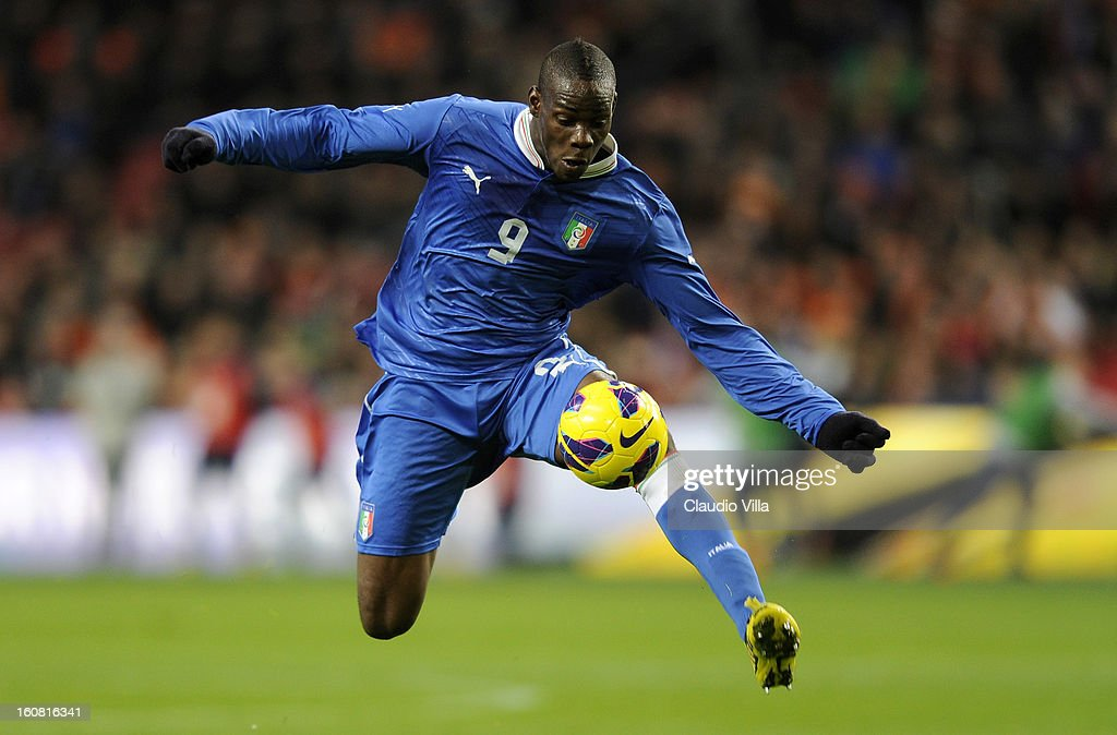 <a gi-track='captionPersonalityLinkClicked' href=/galleries/search?phrase=Mario+Balotelli&family=editorial&specificpeople=4940446 ng-click='$event.stopPropagation()'>Mario Balotelli</a> of Italy in action during the international friendly match between Netherlands and Italy at Amsterdam Arena on February 6, 2013 in Amsterdam, Netherlands.