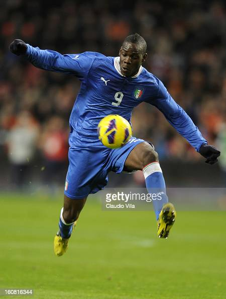 Mario Balotelli of Italy in action during the international friendly match between Netherlands and Italy at Amsterdam Arena on February 6 2013 in...