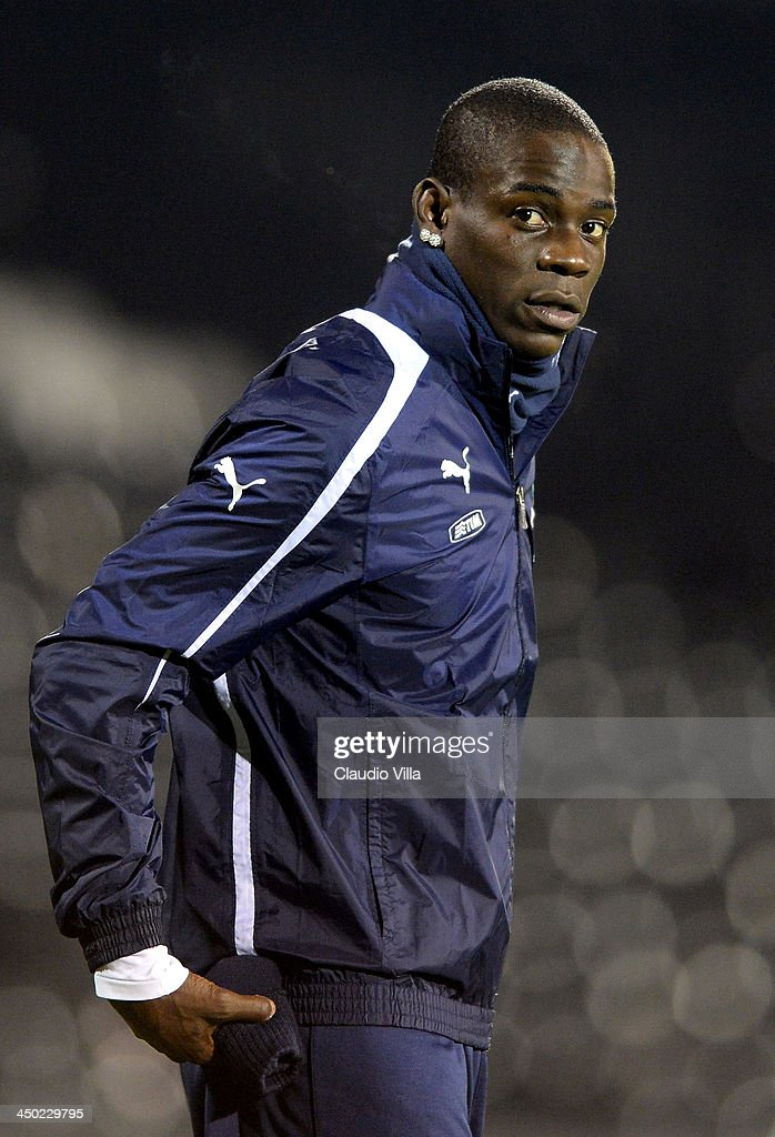 Mario Balotelli of Italy looks on during a training session at Craven Cottage on November 17, 2013 in London, England.
