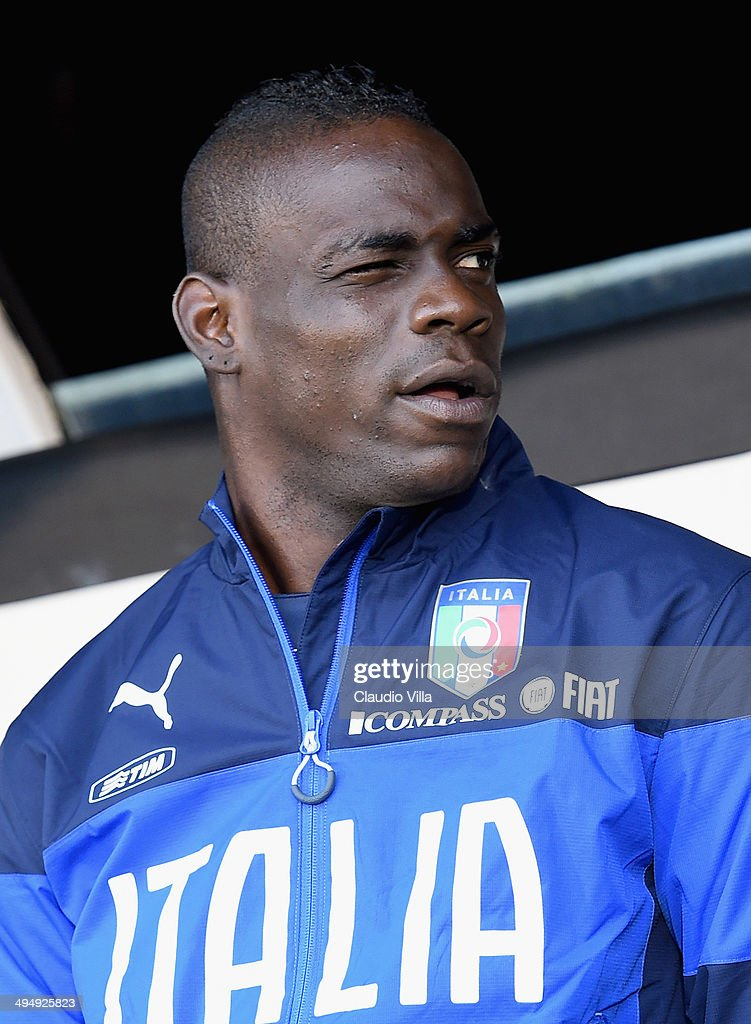 <a gi-track='captionPersonalityLinkClicked' href=/galleries/search?phrase=Mario+Balotelli&family=editorial&specificpeople=4940446 ng-click='$event.stopPropagation()'>Mario Balotelli</a> of Italy looks on prior to the International Friendly match between Italy and Ireland at Craven Cottage on May 30, 2014 in London, England.
