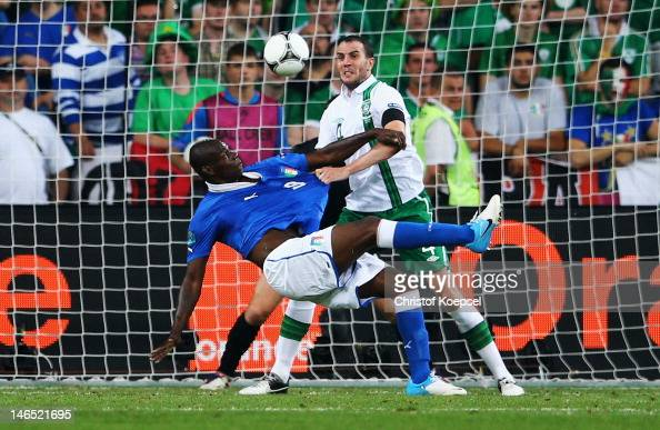 Mario Balotelli of Italy scores his side's second goal during the UEFA EURO 2012 group C match between Italy and Ireland at The Municipal Stadium on...