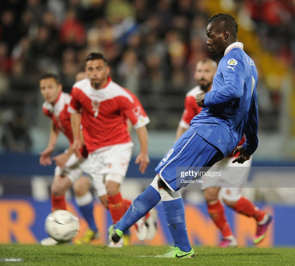 Mario Balotelli of Italy scores the opening goal with a penalty-kick during the FIFA 2014 World Cup qualifier match between Malta and Italy at Ta Qali Stadium on March 26, 2013 in Malta, Malta.