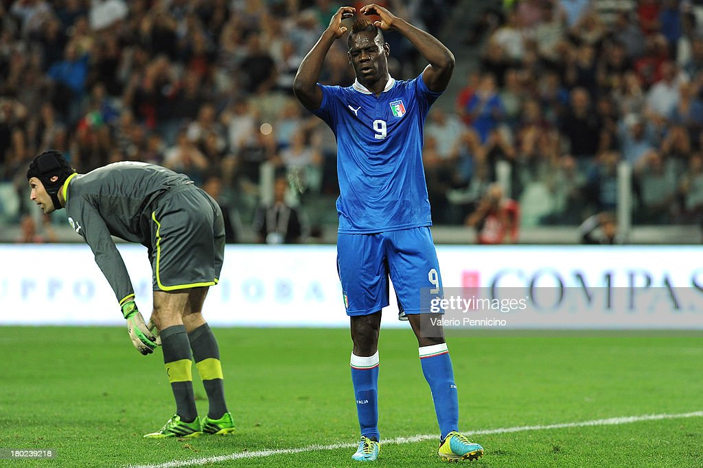 <a gi-track='captionPersonalityLinkClicked' href=/galleries/search?phrase=Mario+Balotelli&family=editorial&specificpeople=4940446 ng-click='$event.stopPropagation()'>Mario Balotelli</a> (R) of Italy shows his dejection during the FIFA 2014 World Cup Qualifier group B match between Italy and Czech Republic at Juventus Arena on September 10, 2013 in Turin, Italy.