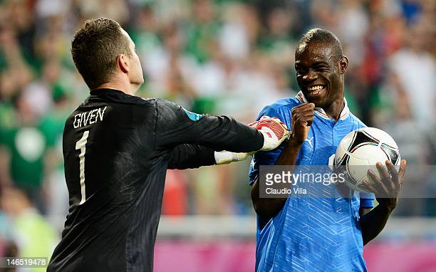 Mario Balotelli of Italy smiles at Shay Given of Republic of Ireland during the UEFA EURO 2012 group C match between Italy and Ireland at The...