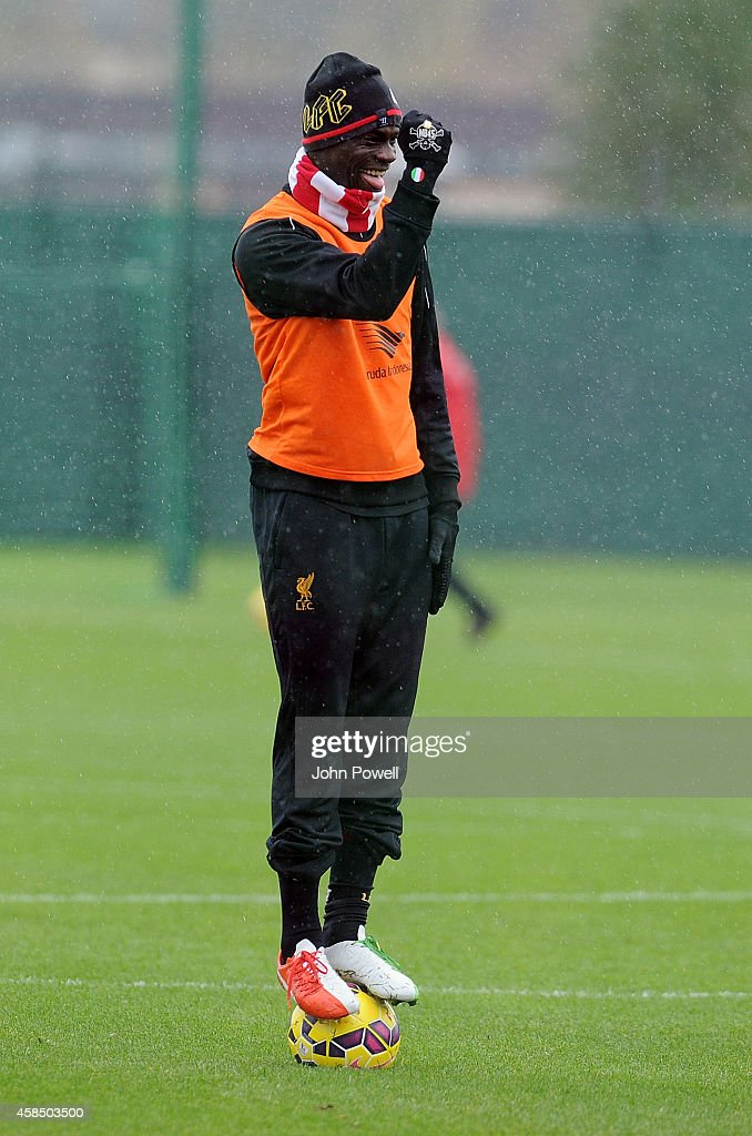 Mario Balotelli of Liveprool in action during a training session at Melwood Training Ground on November 6, 2014 in Liverpool, England.