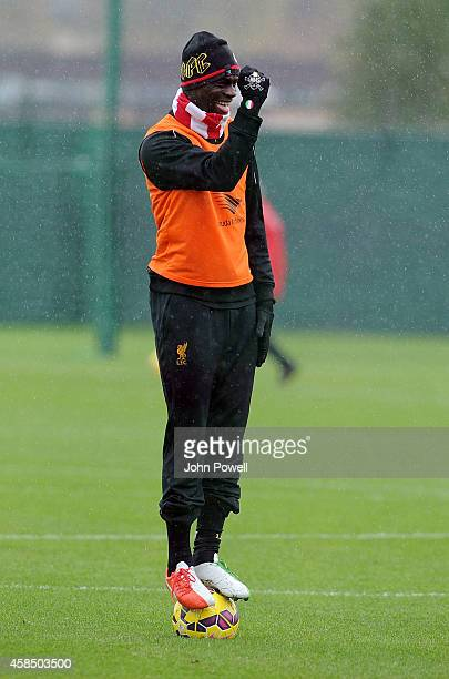 Mario Balotelli of Liveprool in action during a training session at Melwood Training Ground on November 6 2014 in Liverpool England