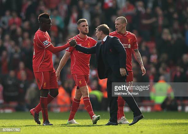 Mario Balotelli of Liverpool and Brendan Rodgers manager / head coach of Liverpool at the end of the game