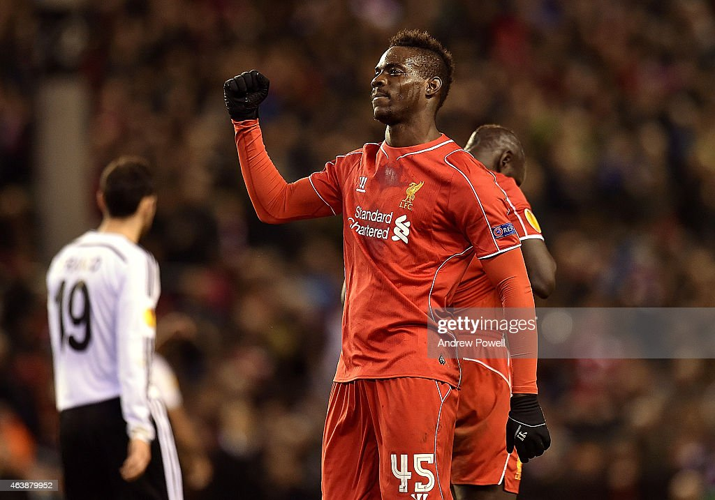 Mario Balotelli of Liverpool celebrates his goal during the UEFA Europa League Round of 32 match between Liverpool FC and Besiktas JK on February 19, 2015 in Liverpool, United Kingdom.