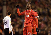 Mario Balotelli of Liverpool celebrates his goal during the UEFA Europa League Round of 32 match between Liverpool FC and Besiktas JK on February 19...