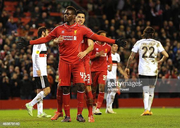 Mario Balotelli of Liverpool celebrates his goal with Emre Can during the UEFA Europa League Round of 32 match between Liverpool FC and Besiktas JK...