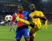 Mario Balotelli of Liverpool competes with Geoffroy Serey Die of FC Basel 1893 during the UEFA Champions League match between FC Basel 1893 and...