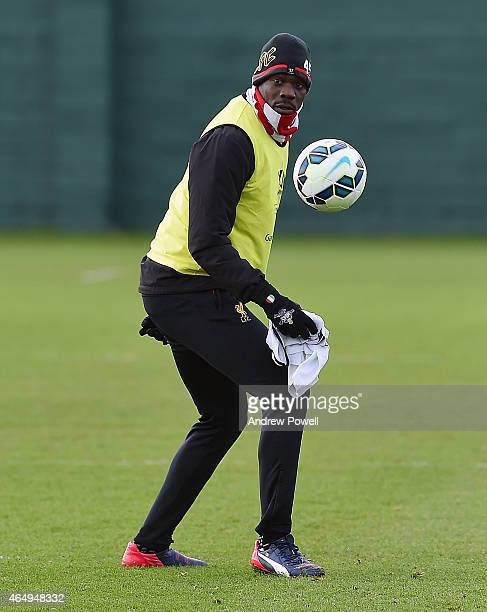 Mario Balotelli of Liverpool during a training session at Melwood Training Ground on March 2 2015 in Liverpool England