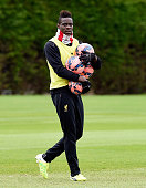 Mario Balotelli of Liverpool in action during a trainin session at Melwood Training Ground on April 17 2015 in Liverpool England