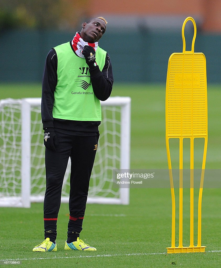 Mario Balotelli of Liverpool in action during a training session at Melwood Training Ground on October 23 2014 in Liverpool England