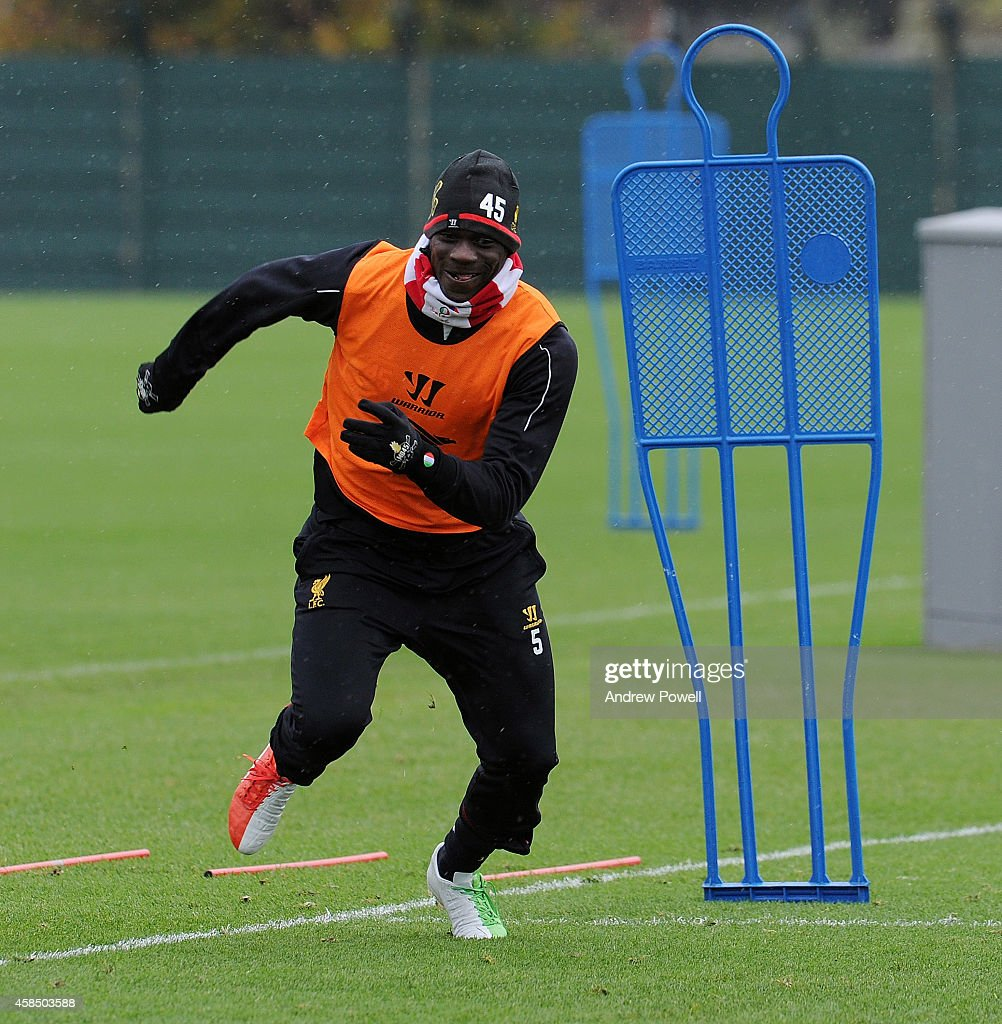 Mario Balotelli of Liverpool in action during a training session at Melwood Training Ground on November 6, 2014 in Liverpool, England.