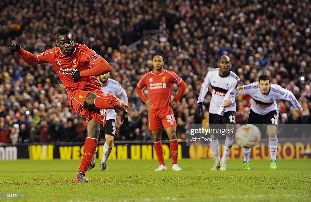 Mario Balotelli of Liverpool scores a penalty during the UEFA Europa League Round of 32 match between Liverpool FC and Besiktas JK on February 19, 2015 in Liverpool, United Kingdom.