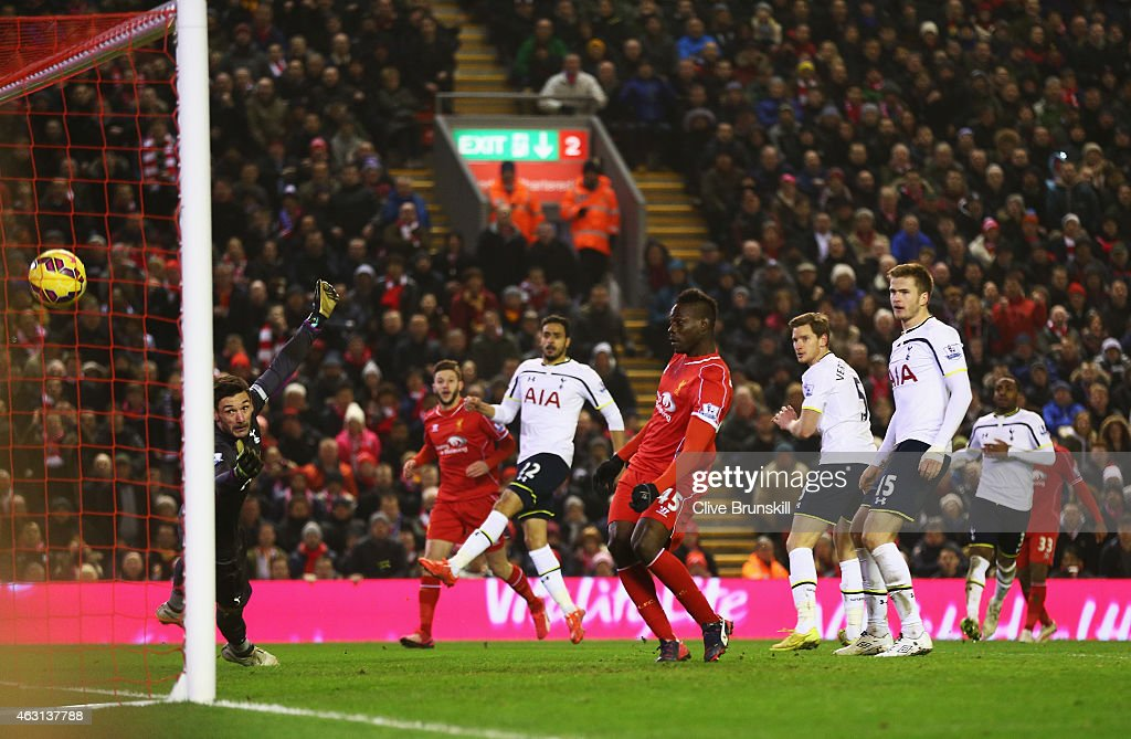 <a gi-track='captionPersonalityLinkClicked' href=/galleries/search?phrase=Mario+Balotelli&family=editorial&specificpeople=4940446 ng-click='$event.stopPropagation()'>Mario Balotelli</a> of Liverpool scores during the Barclays Premier League match between Liverpool and Tottenham Hotspur at Anfield on February 10, 2015 in Liverpool, England.