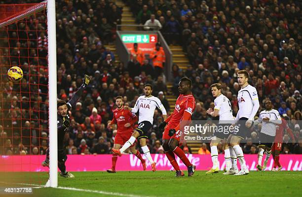 Mario Balotelli of Liverpool scores during the Barclays Premier League match between Liverpool and Tottenham Hotspur at Anfield on February 10 2015...