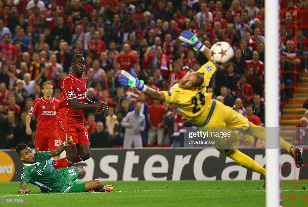Mario Balotelli of Liverpool scores the opening goal past Milan Borjan of PFC Ludogorets Razgrad during the UEFA Champions League Group B match...