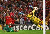 Mario Balotelli of Liverpool scores the opening goal past Milan Borjan of PFC Ludogorets Razgrad during the UEFA Champions League Group B match...