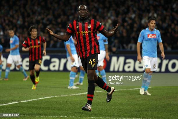 Mario Balotelli of Manchester City celebrates after scoring during the Uefa Champions League Group A match between Napoli and Manchester City at...
