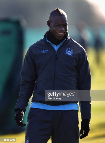 Mario Balotelli of Manchester City looks on during a training session at the Carrington Training Ground on November 5 2012 in Manchester England