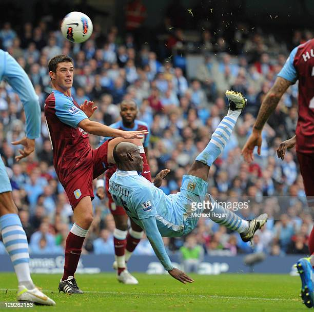 Mario Balotelli of Manchester City scores to make it 10 during the Barclays Premier League match between Manchester City and Aston Villa at the...