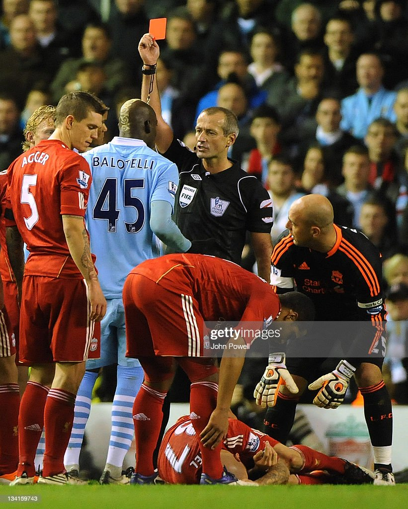 <a gi-track='captionPersonalityLinkClicked' href=/galleries/search?phrase=Mario+Balotelli&family=editorial&specificpeople=4940446 ng-click='$event.stopPropagation()'>Mario Balotelli</a> of Manchestetr City gets a red card during the Barclays Premier League match between Liverpool and Manchester City at Anfield on November 27, 2011 in Liverpool, England.