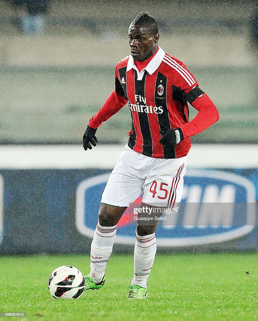 <a gi-track='captionPersonalityLinkClicked' href=/galleries/search?phrase=Mario+Balotelli&family=editorial&specificpeople=4940446 ng-click='$event.stopPropagation()'>Mario Balotelli</a> of Milan in acton during the Serie A match between AC Chievo Verona and AC Milan at Stadio Marc'Antonio Bentegodi on March 30, 2013 in Verona, Italy.