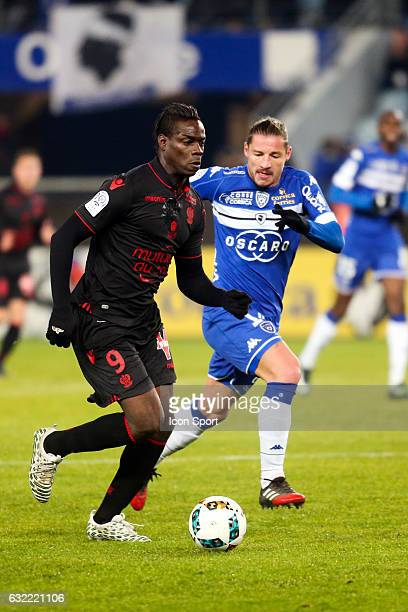 Mario Balotelli of Nice and Mehdy Mostefa of Bastia during the French Ligue 1 match between Bastia and Nice at Stade Armand Cesari on January 21 2017...
