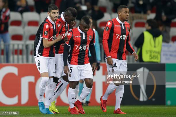 Mario Balotelli of Nice celebrate 10 with Jean Seri of Nice during the UEFA Europa League match between Nice v Zulte Waregem at the Allianz Riviera...
