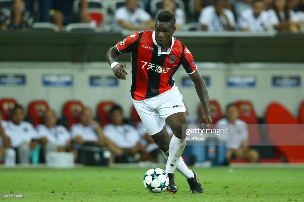 Mario Balotelli of Nice during the UEFA Champions League Qualifying Play-Offs round, second leg match, between OGC Nice and SSC Napoli at Allianz Riviera Stadium on August 22, 2017 in Nice, France.