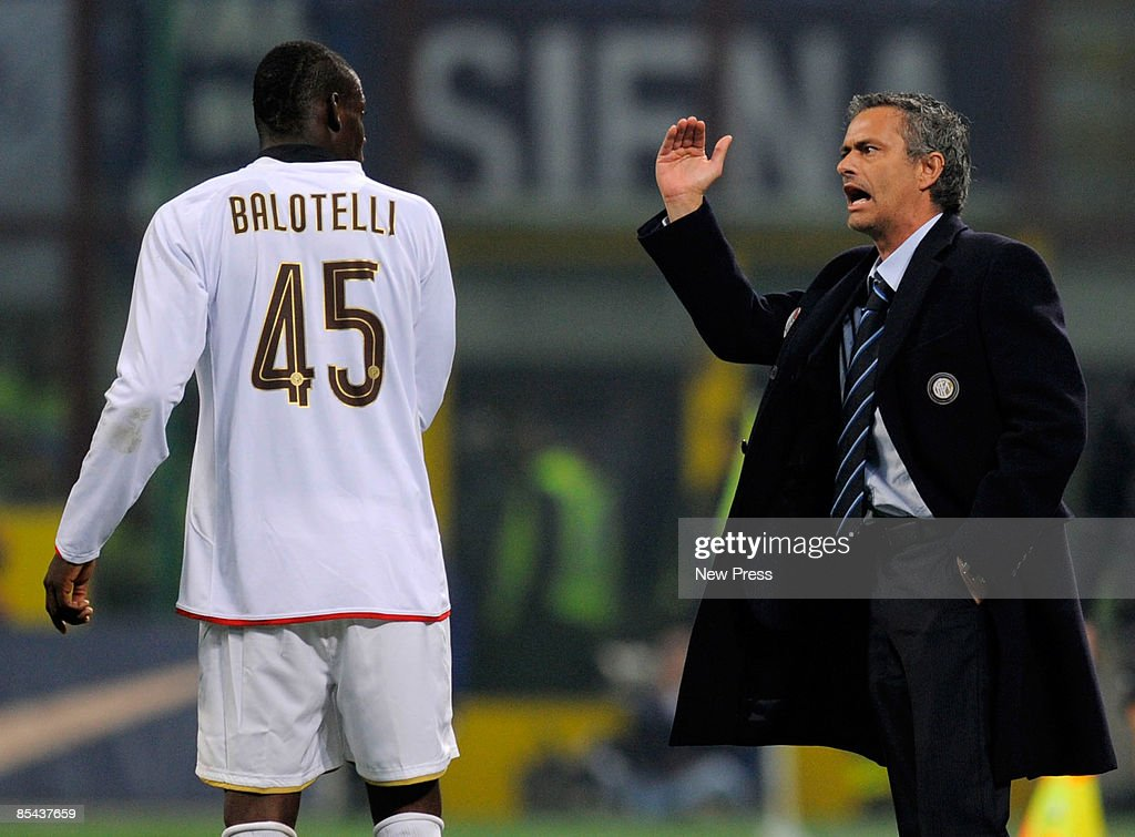 Mario Balotelli receives instruction from Jose Mourinho of Inter during the Serie A match between Inter and Fiorentina at the Meazza Stadio on March...