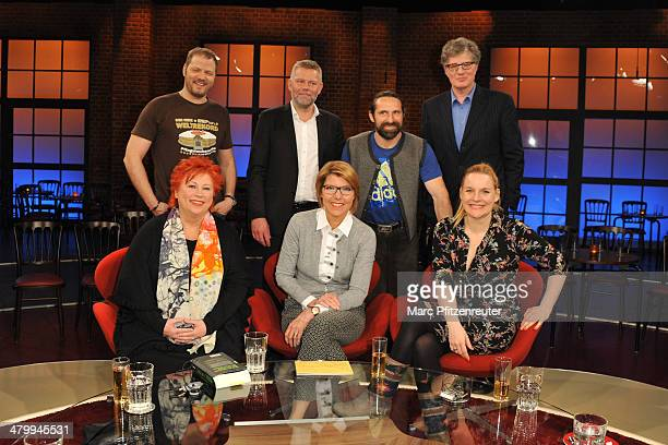 Mario Barth Arne Dahl Alexander Huber Roger Willemsen Barbara Salesch Bettina Boettinger and Judith Holofernes attend the Koelner Treff TV Show at...
