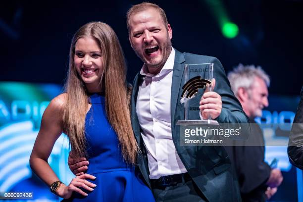 Mario Barth poses with Victoria Swarovski during the Radio Regenbogen Award 2017 at Europapark on April 7 2017 in Rust Germany