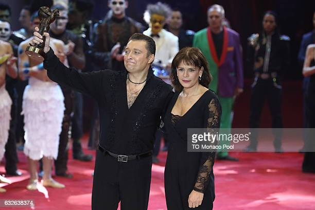 MONACO JANUARY 24 Mario Berousek receives the Bronze Clown from Princess Stephanie of Monaco during the awards ceremony at the 41st MonteCarlo...