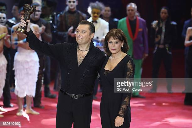 Mario Berousek receives the Bronze Clown from Princess Stephanie of Monaco during the awards ceremony of the 41st MonteCarlo International Circus...